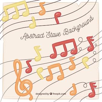 Fundo de notas musicais desenhadas a mão