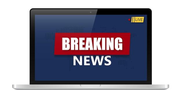 Fundo de notícias de última hora, design de banner de notícias de tv mundial no laptop