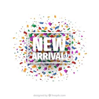 Fundo de nova chegada com confetes coloridos