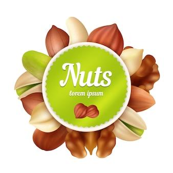 Fundo de nozes. coleção de lanches e amendoins de comida saudável com lugar para o seu modelo de vetor de texto