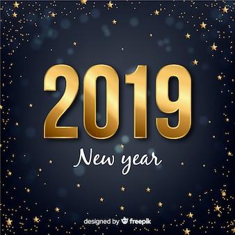 Fundo de número dourado ano novo