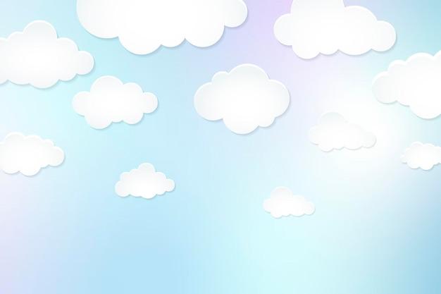 Fundo de nuvem, vetor de design de corte de papel pastel