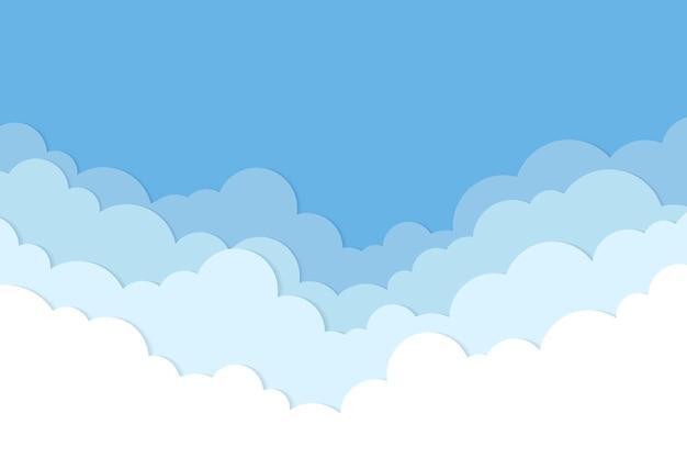 Fundo de nuvem, vetor de estilo de corte de papel pastel