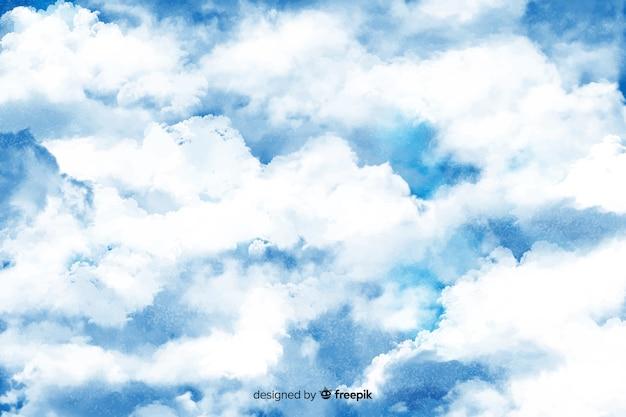 Fundo de nuvens brancas desenhado