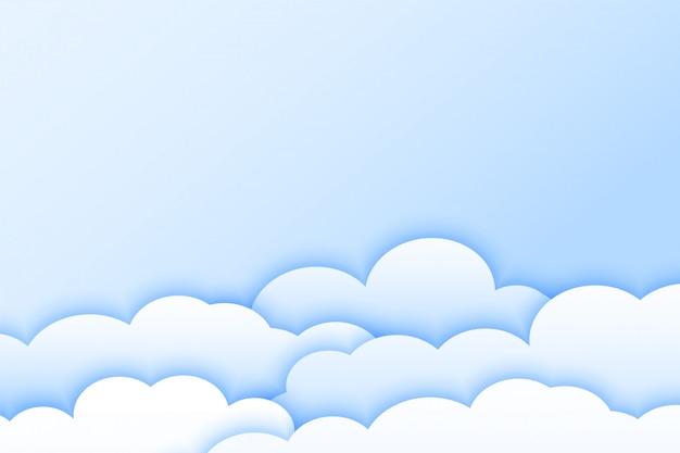 Fundo de nuvens de cor clara no estilo papercut