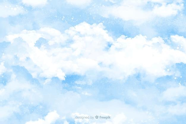 Fundo de nuvens em aquarela