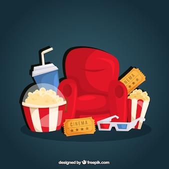 Fundo de objetos para ver um filme