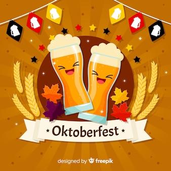 Fundo de oktoberfest com cerveja rindo