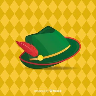 Fundo de oktoberfest com chapéu de tirol em design plano