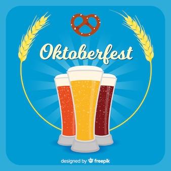 Fundo de oktoberfest com diferentes tipos de cervejas