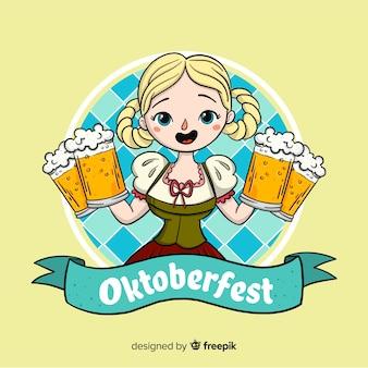 Fundo de oktoberfest com garota comemorando
