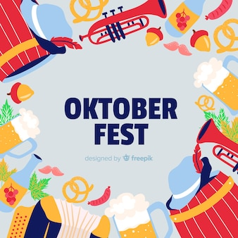 Fundo de oktoberfest com ilustrações de comida e música
