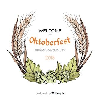 Fundo de oktoberfest com ingredientes de mão desenhada