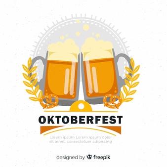 Fundo de oktoberfest com jarros de cerveja