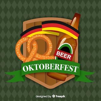 Fundo de oktoberfest design plano com cerveja
