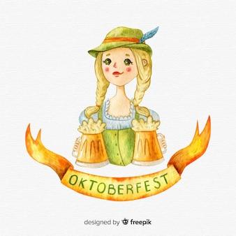 Fundo de oktoberfest em estilo aquarela