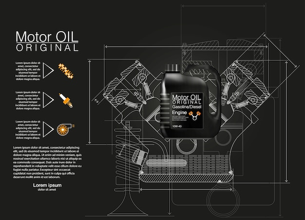 Fundo de óleo de motor de garrafa, ilustração, ilustrações técnicas.