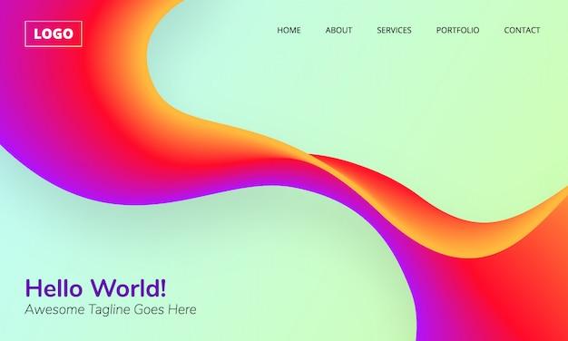 Fundo de onda brilhante vibrante colorido abstrato gradiente