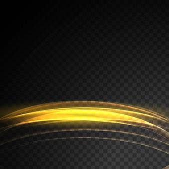 Fundo de onda de efeito de luz dourada transparente brilhante