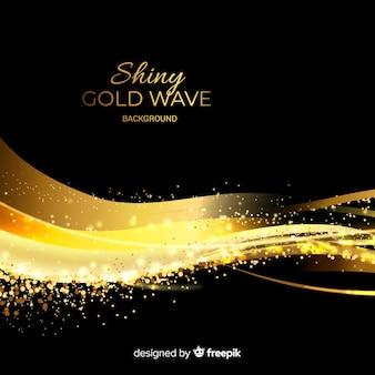 Fundo de onda de ouro brilhante