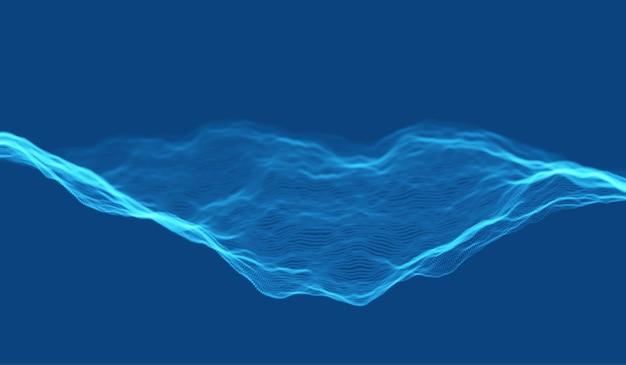 Fundo de onda de partícula azul. malha dinâmica abstrata. tecnologia de big data. ilustração em vetor grade.