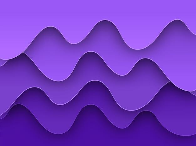 Fundo de onda de sobreposição de corte de papel roxo abstrato