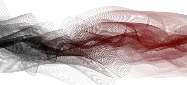 Fundo de onda de som preto e vermelho