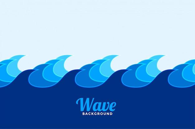 Fundo de onda de superfície do oceano em cores de tons de azul