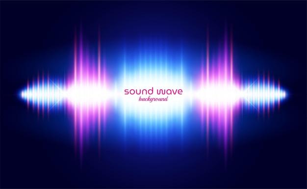 Fundo de onda sonora com luz neon vibrante