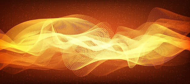 Fundo de onda sonora de linha digital laranja