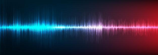 Fundo de onda sonora digital azul e vermelho, tecnologia e conceito de onda sísmica