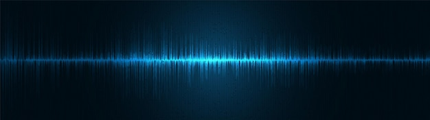 Fundo de onda sonora digital de luz azul panorâmica