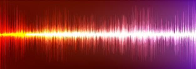 Fundo de onda sonora digital laranja e violeta, tecnologia e conceito de onda sísmica