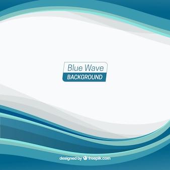 Fundo de ondas azuis com design plano