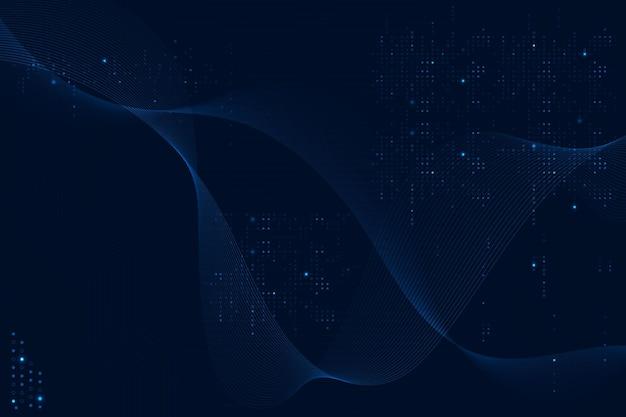 Fundo de ondas futuristas azuis com tecnologia de código de computador