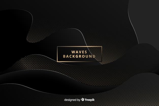 Fundo de ondas pontilhadas escuro
