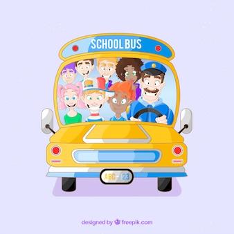 Fundo de ônibus escolar com crianças
