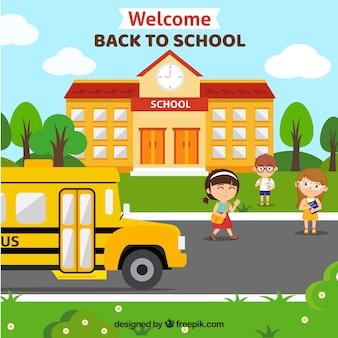 Fundo de ônibus escolar e fachada da escola