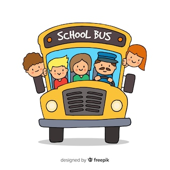 Fundo de ônibus escolar