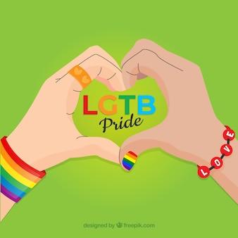 Fundo de orgulho lgtb com as mãos formando coração
