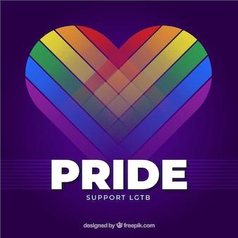 Fundo de orgulho moderno lgtb com coração