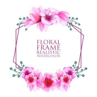 Fundo de ornamento floral aquarela flor de cerejeira