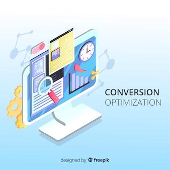 Fundo de otimização de marketing isométrica