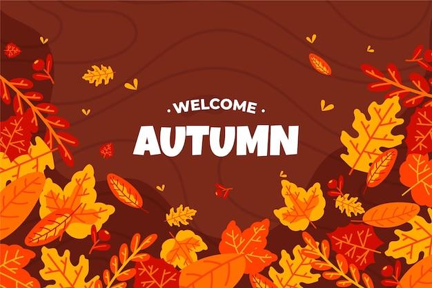 Fundo de outono bem-vindo mão desenhada