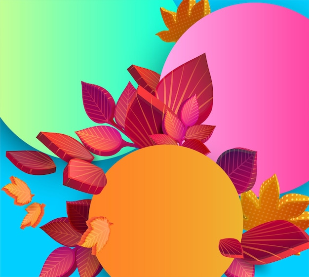 Fundo de outono colorido e brilhante com folhas vermelhas rosa e laranja
