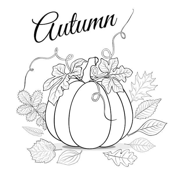 Fundo de outono com abóbora e folhas para colorir vetor de livro
