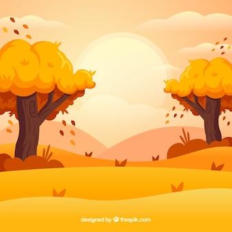 Fundo de outono com árvores e paisagem