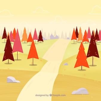 Fundo de outono com árvores