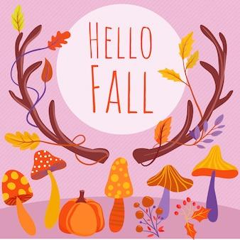 Fundo de outono com cogumelos, abóbora e folhas