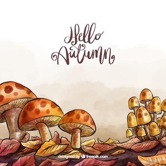 Fundo de outono com cogumelos em aquarela